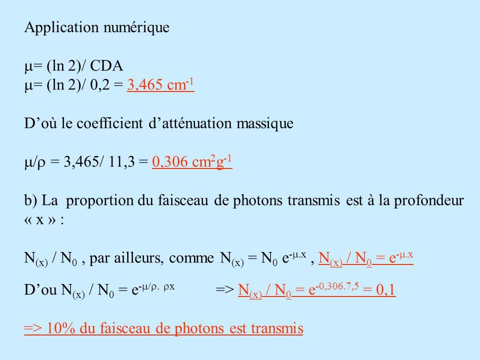 Application numérique  = (ln 2)/ CDA  = (ln 2)/ 0,2 = 3,465 cm -1 D'où le coefficient d'atténuation massique  = 3,465/ 11,3 = 0,306 cm 2 g -1 b)