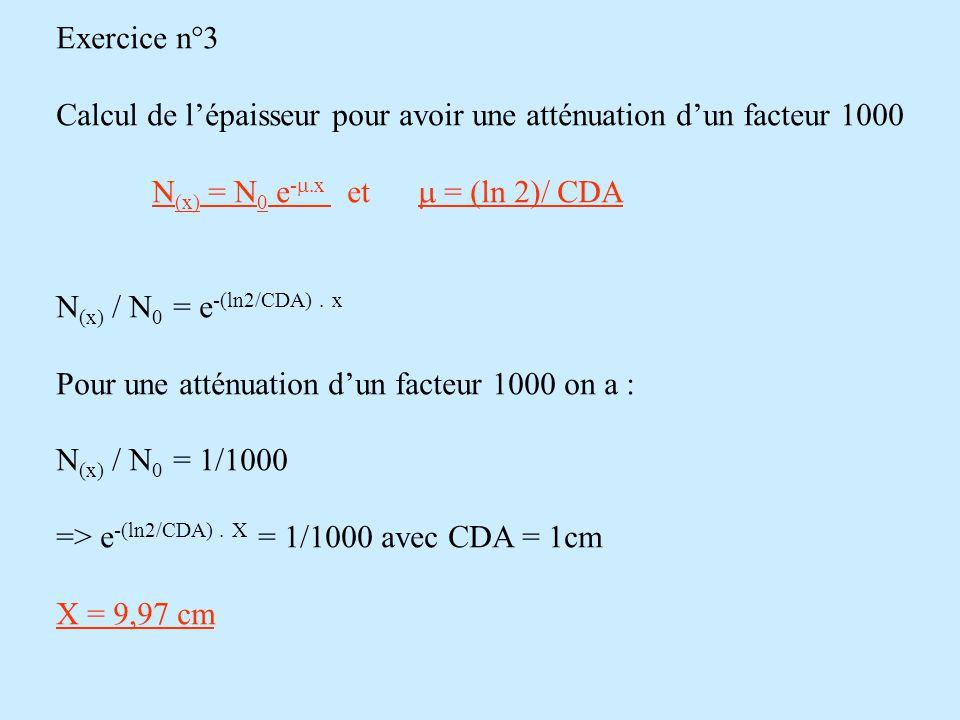 Exercice n°3 Calcul de l'épaisseur pour avoir une atténuation d'un facteur 1000 N (x) = N 0 e -  x et  = (ln 2)/ CDA N (x) / N 0 = e -(ln2/CDA) 