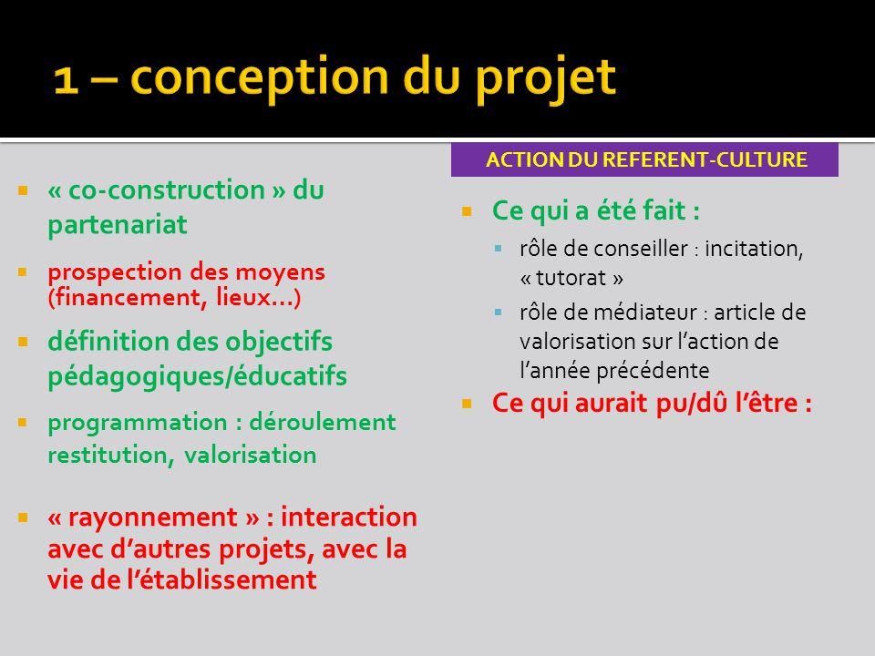  « co-construction » du partenariat ACTION DU REFERENT-CULTURE  Ce qui a été fait :  rôle de conseiller : incitation, « tutorat »  rôle de médiate