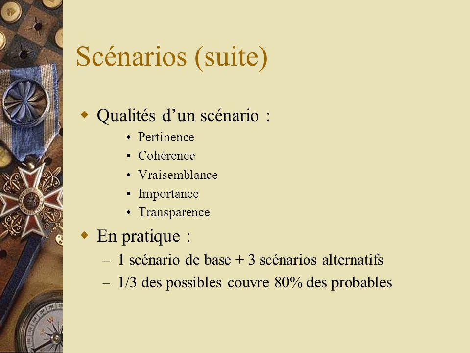  Qualités d'un scénario : •Pertinence •Cohérence •Vraisemblance •Importance •Transparence  En pratique : – 1 scénario de base + 3 scénarios alternatifs – 1/3 des possibles couvre 80% des probables Scénarios (suite)