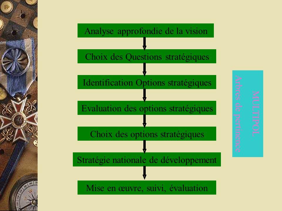 Analyse approfondie de la vision Choix des Questions stratégiques Identification Options stratégiques Evaluation des options stratégiques Choix des op