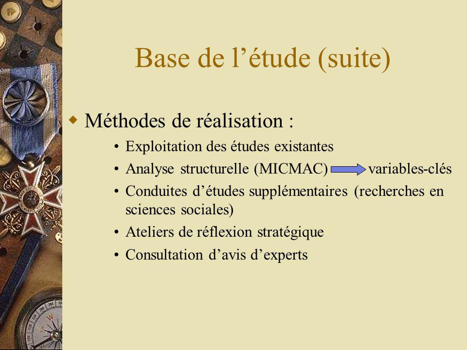 Base de l'étude (suite)  Méthodes de réalisation : •Exploitation des études existantes •Analyse structurelle (MICMAC) variables-clés •Conduites d'études supplémentaires (recherches en sciences sociales) •Ateliers de réflexion stratégique •Consultation d'avis d'experts