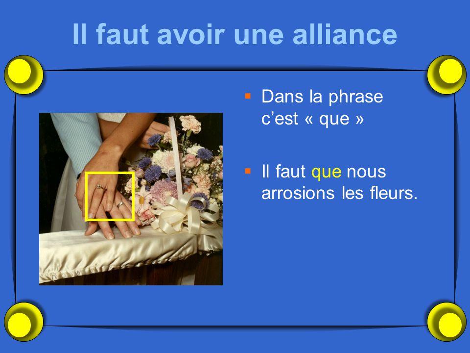Il faut avoir une alliance  Dans la phrase c'est « que »  Il faut que nous arrosions les fleurs.
