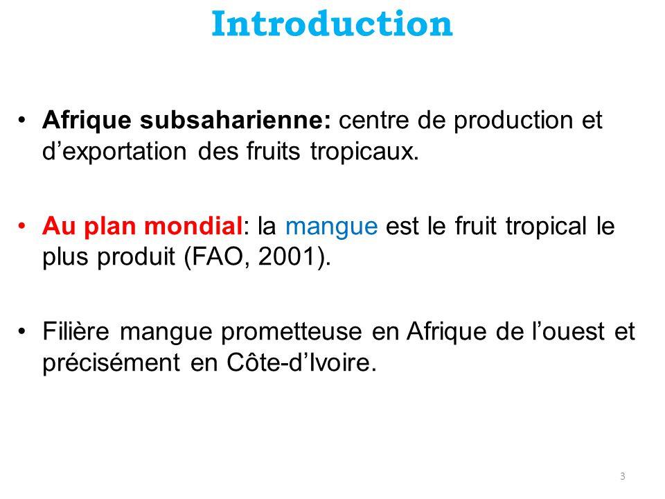 Introduction •Production nationale: 100 000 t dont 30 000 – 40 000 t exportées (OCAB, 2001).