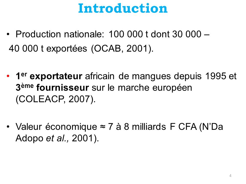 Introduction •Production nationale: 100 000 t dont 30 000 – 40 000 t exportées (OCAB, 2001).