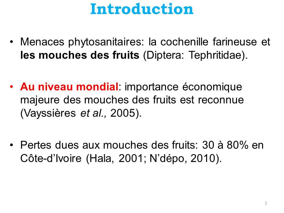 Introduction •Menaces phytosanitaires: la cochenille farineuse et les mouches des fruits (Diptera: Tephritidae). •Au niveau mondial: importance économ