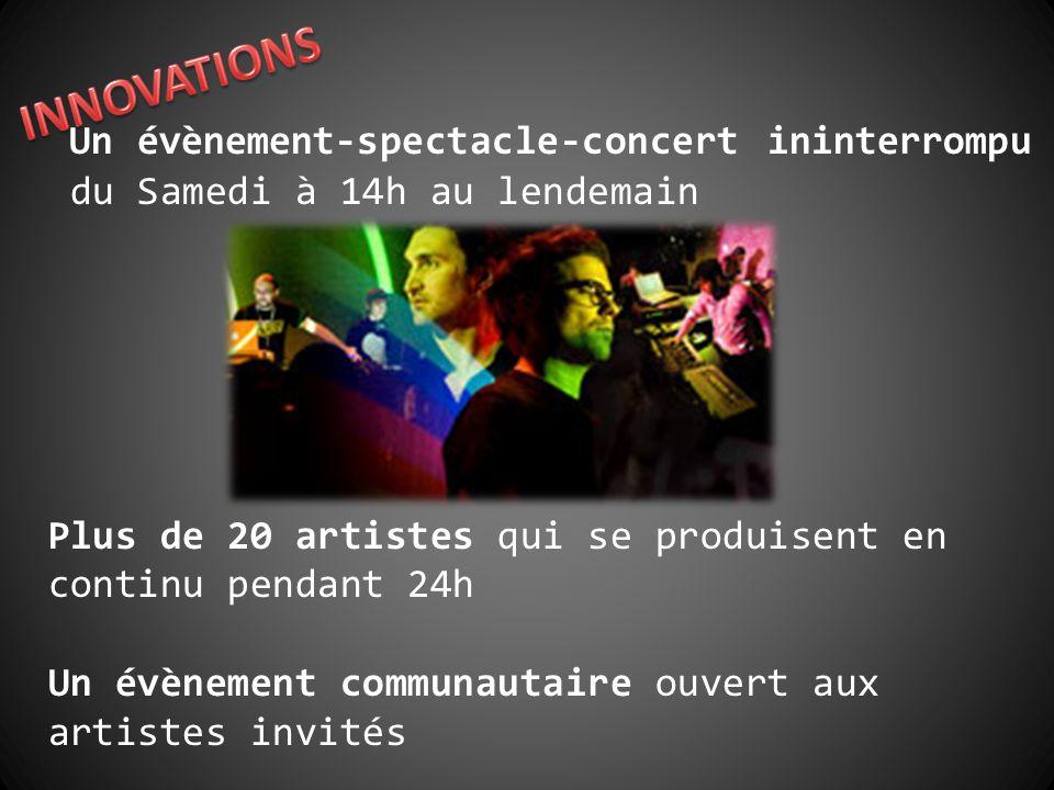 Un évènement-spectacle-concert ininterrompu du Samedi à 14h au lendemain Plus de 20 artistes qui se produisent en continu pendant 24h Un évènement communautaire ouvert aux artistes invités