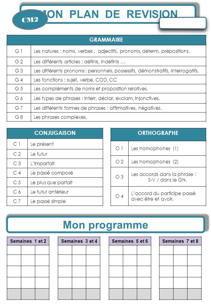 MON PLAN DE REVISION CM2 Semaines 1 et 2 Mon programme Semaines 3 et 4Semaines 5 et 6Semaines 7 et 8 CONJUGAISON C 1Le présent C 2Le futur C 3L'imparf