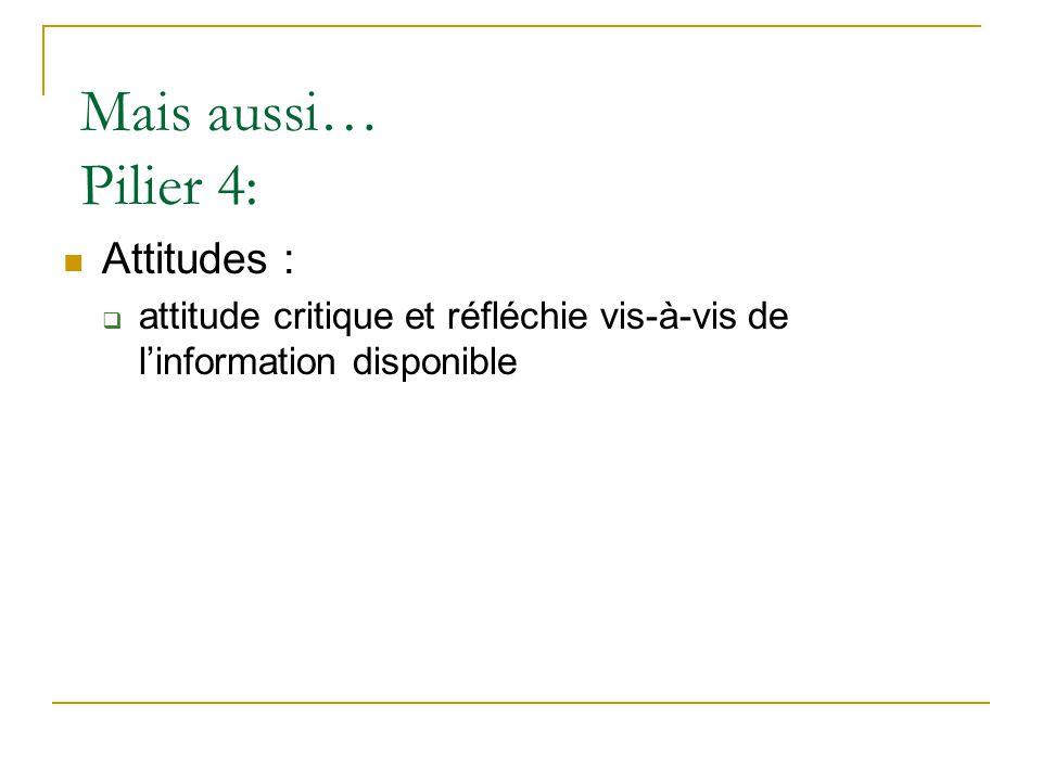 Mais aussi… Pilier 4:  Attitudes :  attitude critique et réfléchie vis-à-vis de l'information disponible