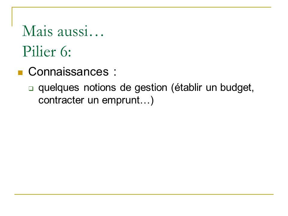 Mais aussi… Pilier 6:  Connaissances :  quelques notions de gestion (établir un budget, contracter un emprunt…)