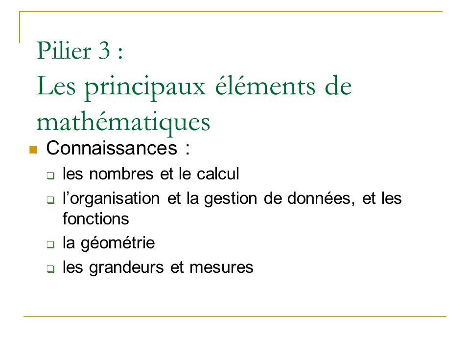 Pilier 3 : Les principaux éléments de mathématiques  Connaissances :  les nombres et le calcul  l'organisation et la gestion de données, et les fonctions  la géométrie  les grandeurs et mesures
