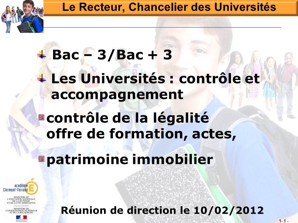 Réunion de direction le 10/02/2012 Bac – 3/Bac + 3 Les Universités : contrôle et accompagnement contrôle de la légalité offre de formation, actes, pat