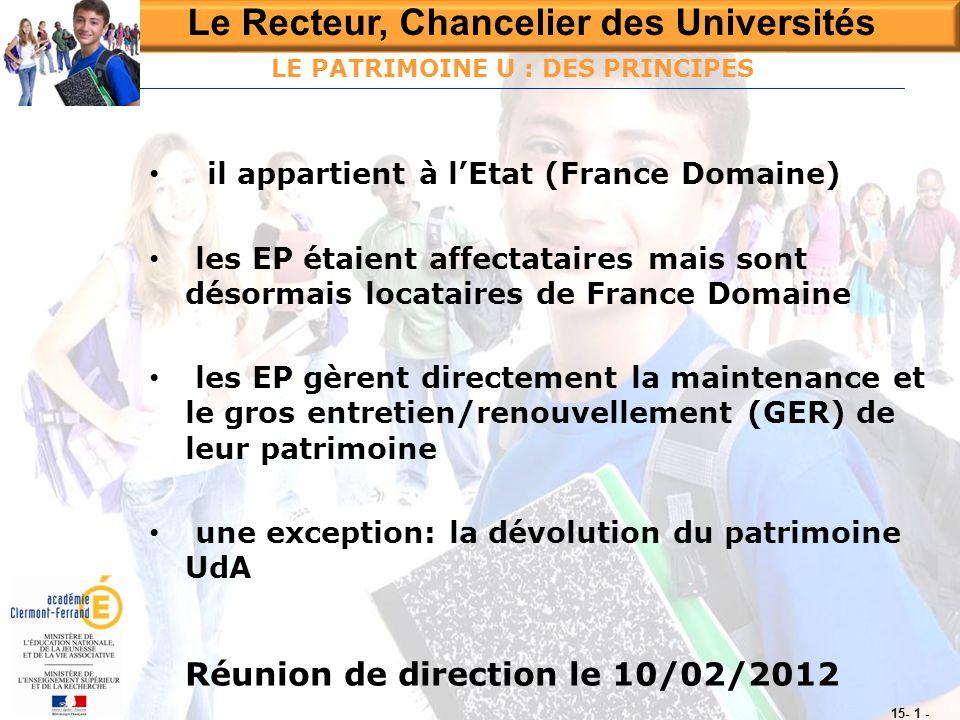 Le Recteur, Chancelier des Universités Réunion de direction le 10/02/2012 15- 1 - LE PATRIMOINE U : DES PRINCIPES • il appartient à l'Etat (France Dom