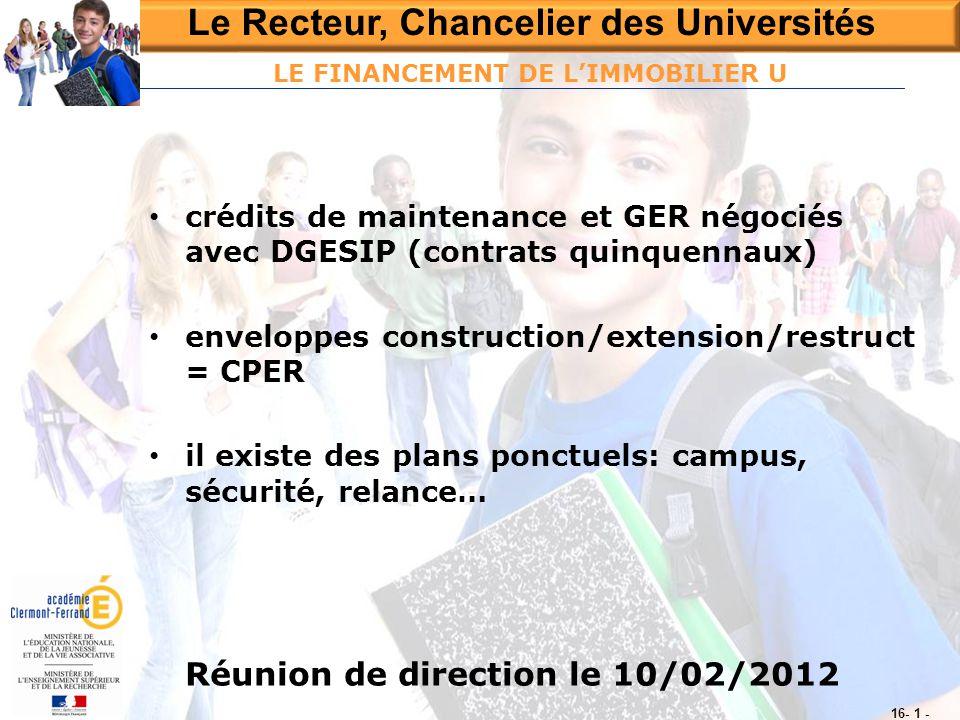 Le Recteur, Chancelier des Universités Réunion de direction le 10/02/2012 16- 1 - LE FINANCEMENT DE L'IMMOBILIER U • crédits de maintenance et GER nég