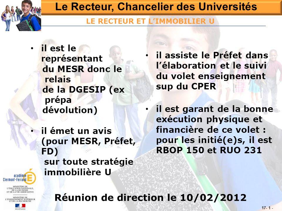 Le Recteur, Chancelier des Universités Réunion de direction le 10/02/2012 17- 1 - LE RECTEUR ET L'IMMOBILIER U • il assiste le Préfet dans l'élaborati