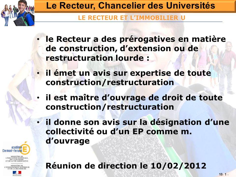 Le Recteur, Chancelier des Universités Réunion de direction le 10/02/2012 18- 1 - LE RECTEUR ET L'IMMOBILIER U • le Recteur a des prérogatives en mati