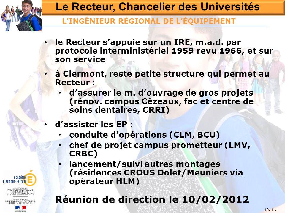 Le Recteur, Chancelier des Universités Réunion de direction le 10/02/2012 19- 1 - • le Recteur s'appuie sur un IRE, m.a.d. par protocole interministér