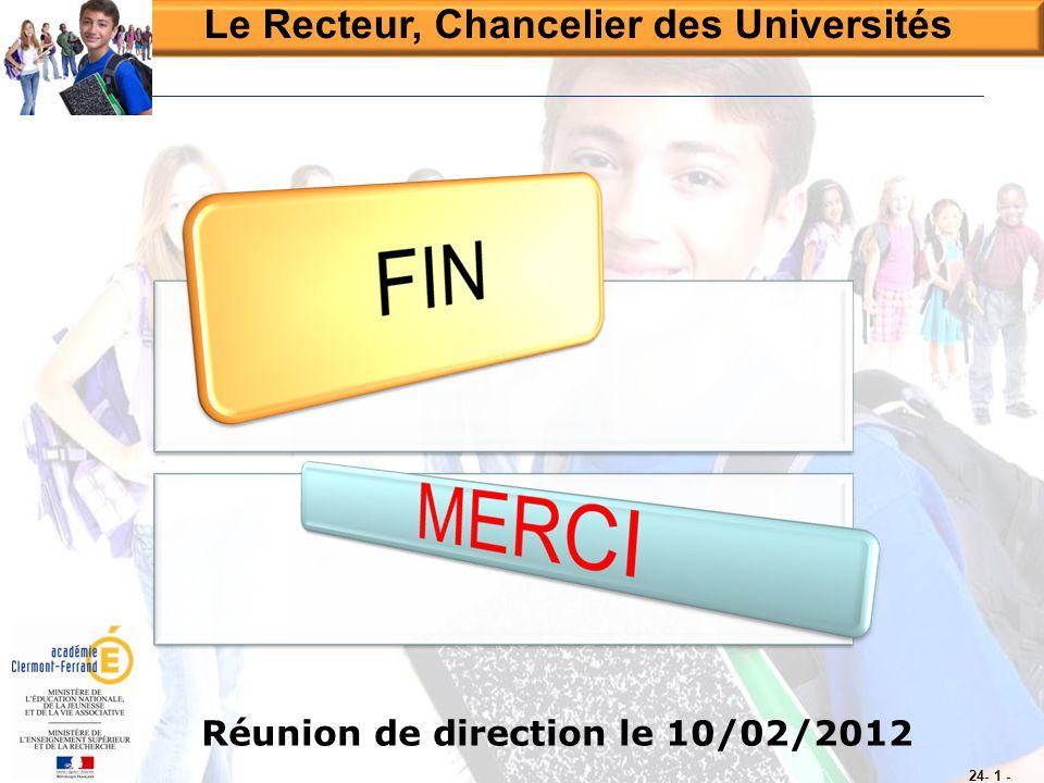 Le Recteur, Chancelier des Universités Réunion de direction le 10/02/2012 24- 1 -