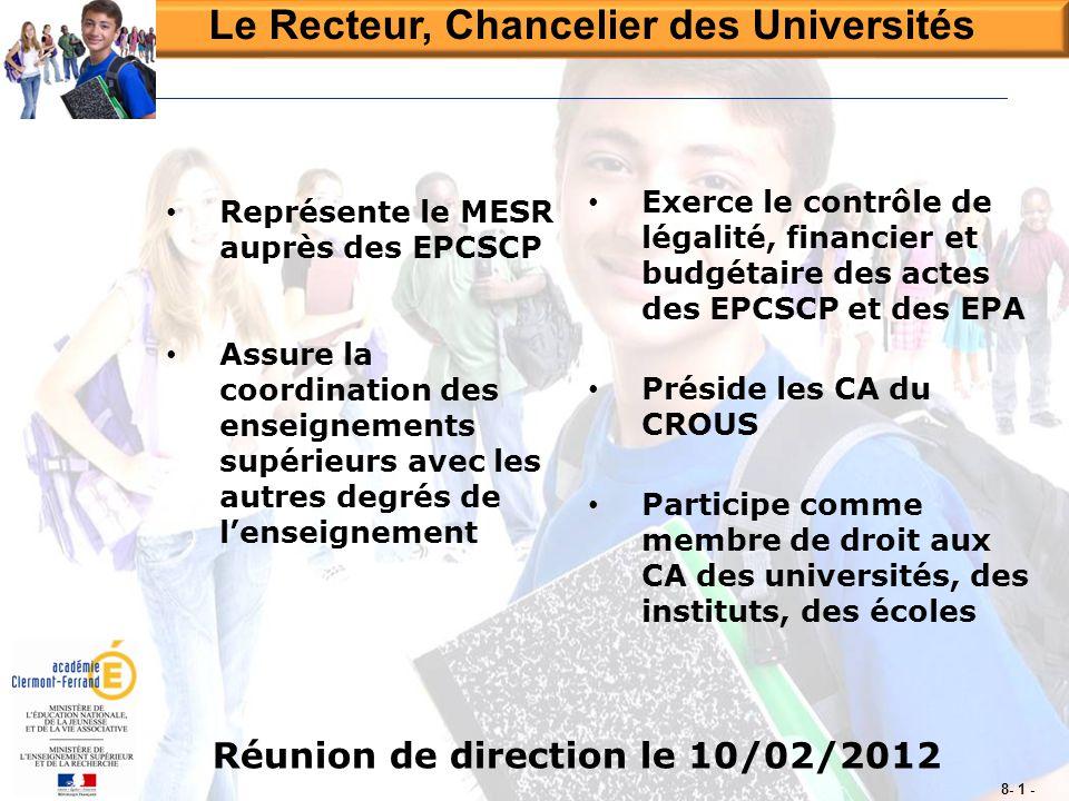 Le Recteur, Chancelier des Universités Réunion de direction le 10/02/2012 8- 1 - • Représente le MESR auprès des EPCSCP • Assure la coordination des e