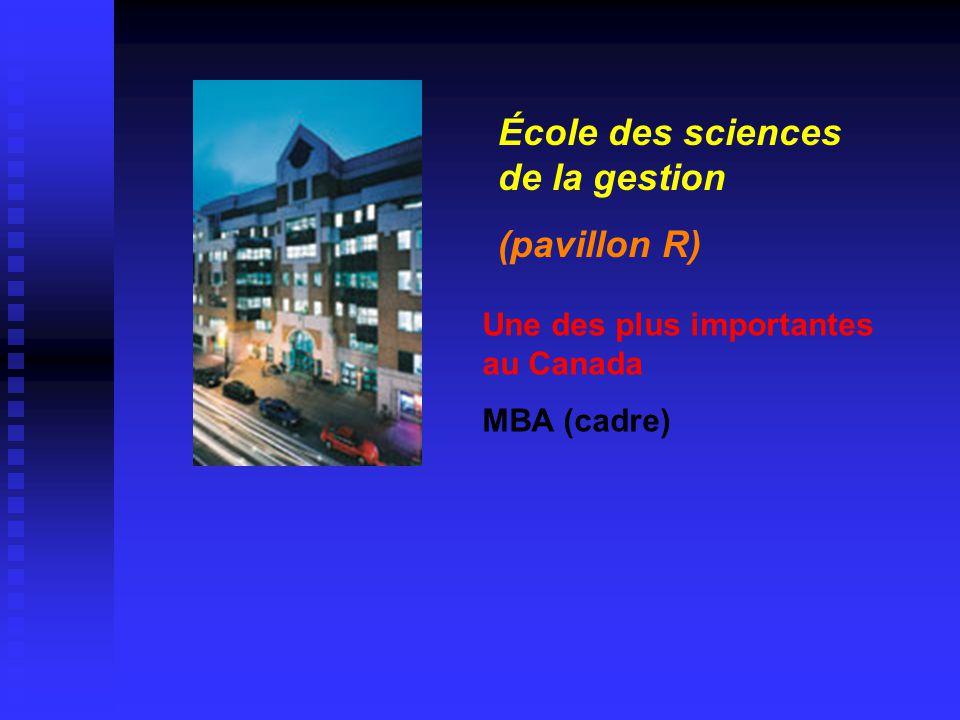 Une des plus importantes au Canada MBA (cadre) École des sciences de la gestion (pavillon R)