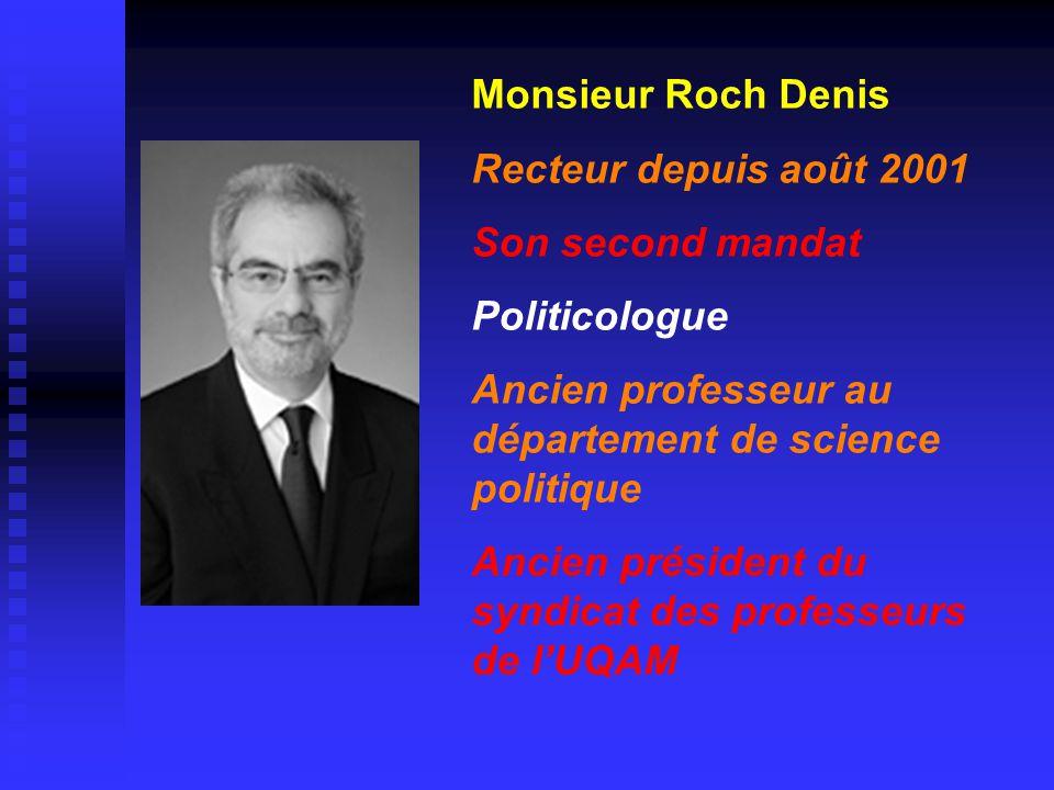 Monsieur Roch Denis Recteur depuis août 2001 Son second mandat Politicologue Ancien professeur au département de science politique Ancien président du syndicat des professeurs de l'UQAM
