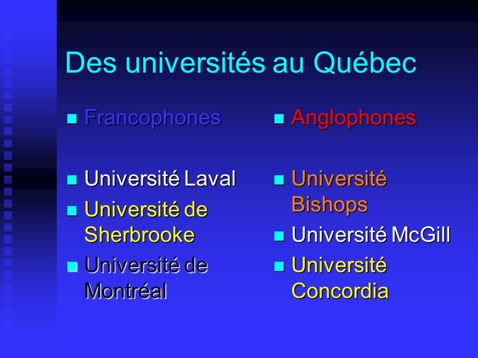 Des universités au Québec  Francophones  Université Laval  Université de Sherbrooke  Université de Montréal  Anglophones  Université Bishops  Université McGill  Université Concordia