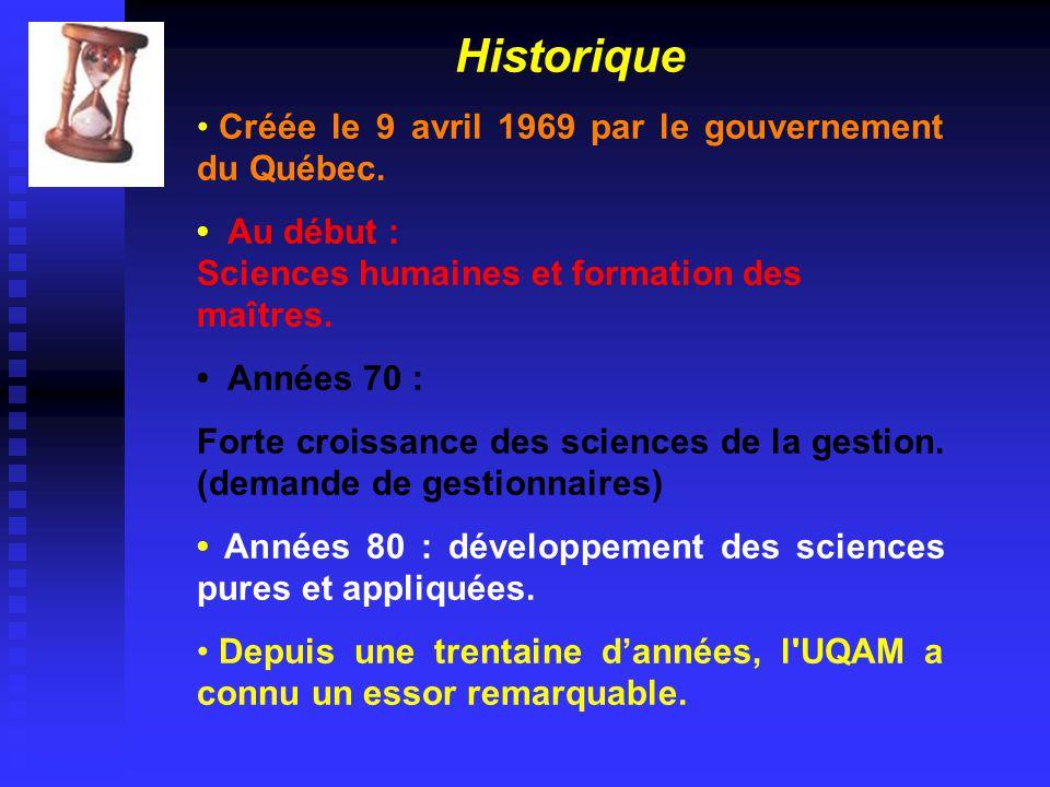 Historique • Créée le 9 avril 1969 par le gouvernement du Québec.