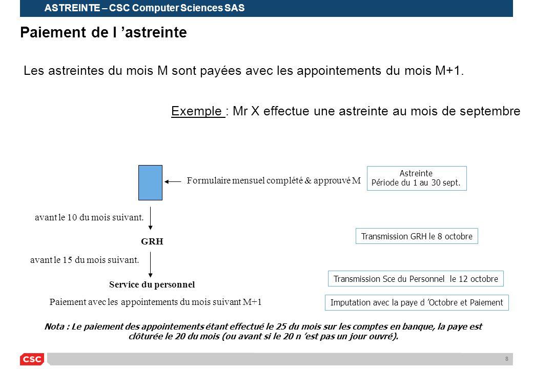 8 Paiement de l 'astreinte Les astreintes du mois M sont payées avec les appointements du mois M+1. Exemple : Mr X effectue une astreinte au mois de s
