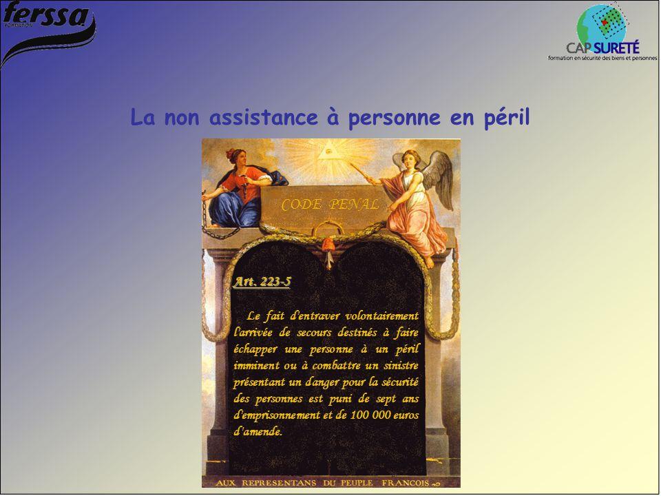 Art. 223-5 Le fait d'entraver volontairement l'arrivée de secours destinés à faire échapper une personne à un péril imminent ou à combattre un sinistr
