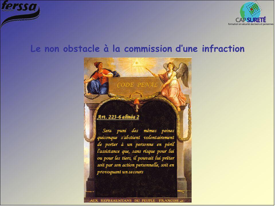 Art. 223-6 alinéa 2 Sera puni des mêmes peines quiconque s'abstient volontairement de porter à un personne en péril l'assistance que, sans risque pour