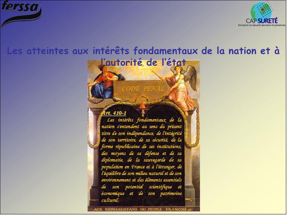Art. 410-1 Les intérêts fondamentaux de la nation s'entendent au sens du présent titre de son indépendance, de l'intégrité de son territoire, de sa sé
