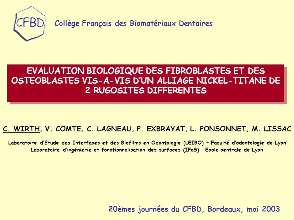 MATERIEL :  BIOMATERIAU : Alliage nickel-titane (NiTi) : 55.5% Ni, 44.5% Ti Surfaces polies manuellement afin d'obtenir: - un état de surface rugueux (NiTi 400) - un état de surface poli-miroir (NiTi 2400)  CULTURE CELLULAIRE : -Ostéoblastes isolés à partir de calvaria de fœtus de rat par dissociation enzymatique -Fibroblastes gingivaux humains obtenus à partir de la technique des explants