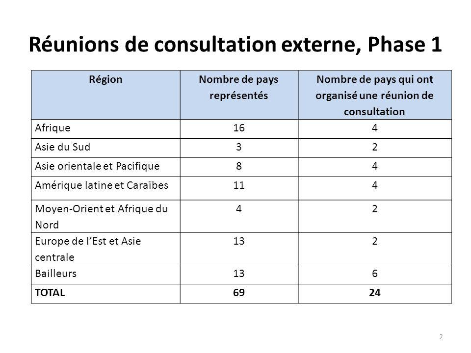 Réunions de consultation externe, Phase 1 2 Région Nombre de pays représentés Nombre de pays qui ont organisé une réunion de consultation Afrique164 A