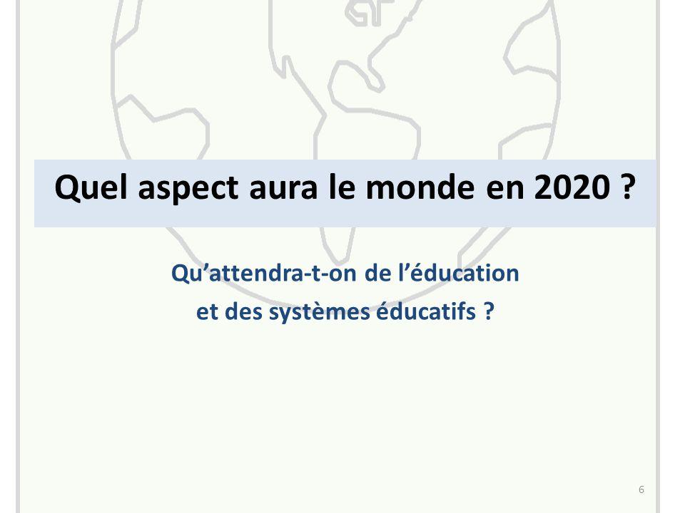 Quel aspect aura le monde en 2020 6 Qu'attendra-t-on de l'éducation et des systèmes éducatifs
