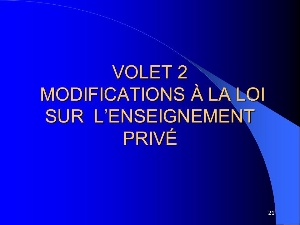 21 VOLET 2 MODIFICATIONS À LA LOI SUR L'ENSEIGNEMENT PRIVÉ