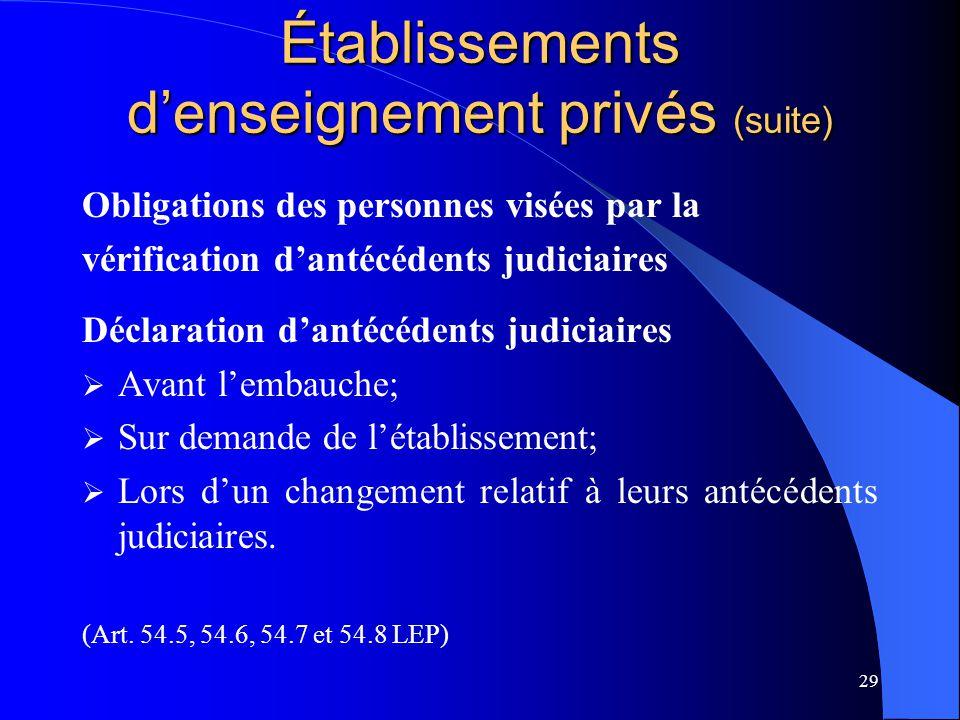 29 Établissements d'enseignement privés (suite) Obligations des personnes visées par la vérification d'antécédents judiciaires Déclaration d'antécéden