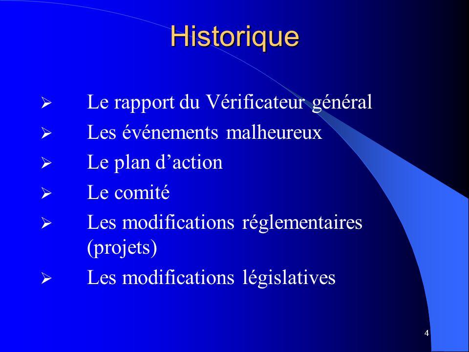 4Historique  Le rapport du Vérificateur général  Les événements malheureux  Le plan d'action  Le comité  Les modifications réglementaires (projets)  Les modifications législatives