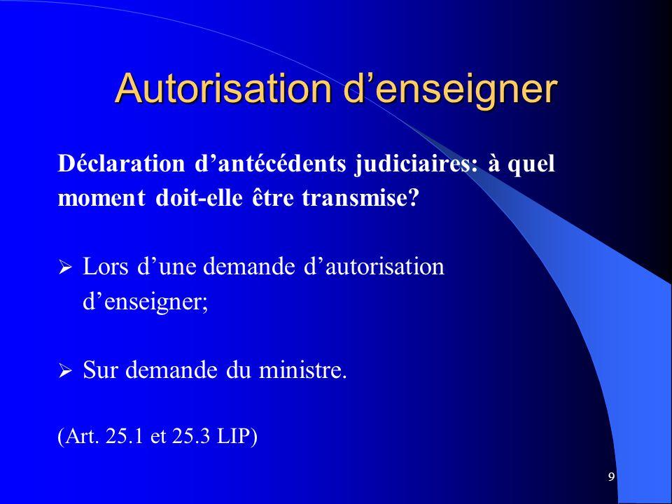 20 Autorisation d'enseigner (suite) Transmission de la déclaration d'antécédents judiciaires:  Par le demandeur ;  Par le titulaire.