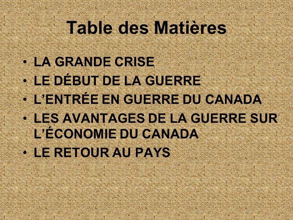 •LA GRANDE CRISE •LE DÉBUT DE LA GUERRE •L'ENTRÉE EN GUERRE DU CANADA •LES AVANTAGES DE LA GUERRE SUR L'ÉCONOMIE DU CANADA •LE RETOUR AU PAYS Table de