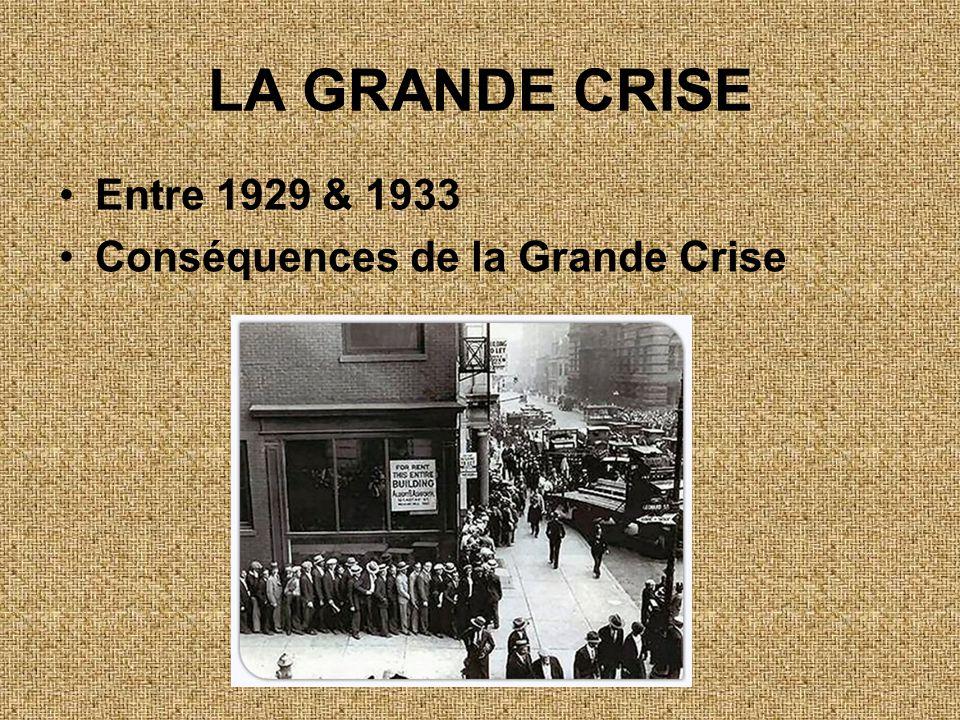 LA GRANDE CRISE •Entre 1929 & 1933 •Conséquences de la Grande Crise