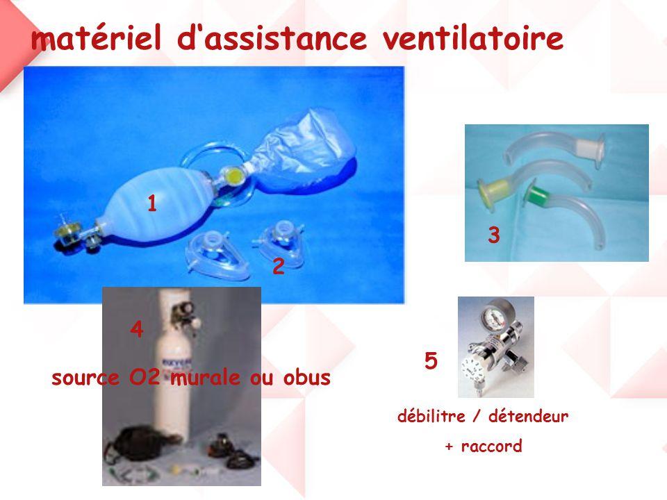matériel d'assistance ventilatoire 1 3 2 4 source O2 murale ou obus débilitre / détendeur + raccord 5