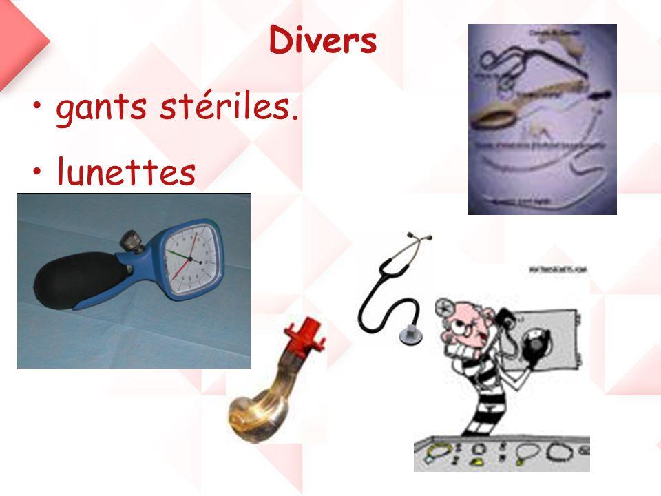 Divers • gants stériles. • lunettes