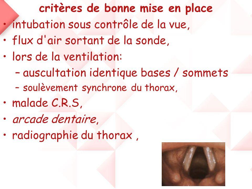 critères de bonne mise en place •intubation sous contrôle de la vue, •flux d'air sortant de la sonde, •lors de la ventilation: –auscultation identique