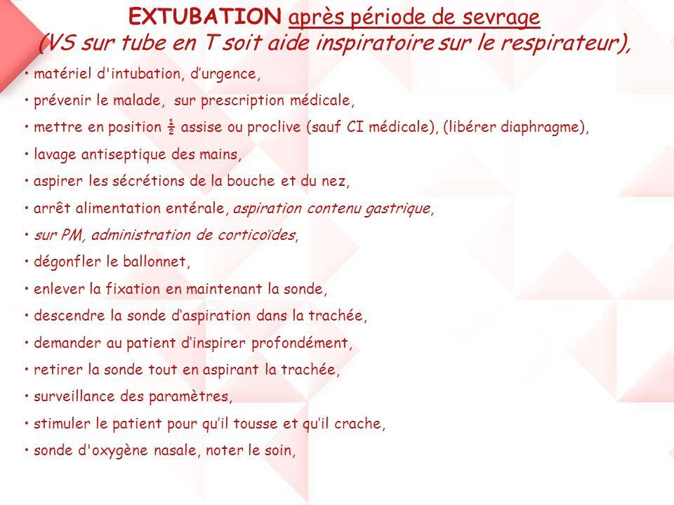 EXTUBATION après période de sevrage (VS sur tube en T soit aide inspiratoire sur le respirateur), • matériel d'intubation, d'urgence, • prévenir le ma