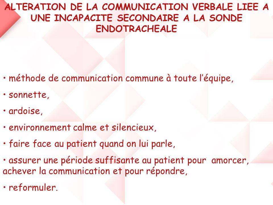 ALTERATION DE LA COMMUNICATION VERBALE LIEE A UNE INCAPACITE SECONDAIRE A LA SONDE ENDOTRACHEALE • méthode de communication commune à toute l'équipe,