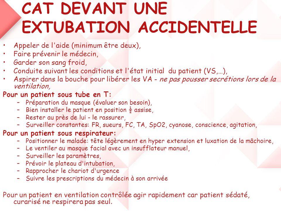 CAT DEVANT UNE EXTUBATION ACCIDENTELLE •Appeler de l'aide (minimum être deux), •Faire prévenir le médecin, •Garder son sang froid, •Conduite suivant l