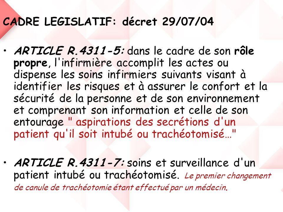 CADRE LEGISLATIF: décret 29/07/04 •ARTICLE R.4311-5: dans le cadre de son rôle propre, l'infirmière accomplit les actes ou dispense les soins infirmie
