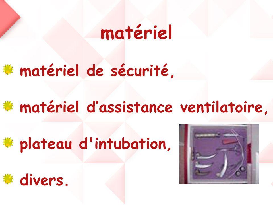 matériel matériel de sécurité, matériel d'assistance ventilatoire, plateau d'intubation, divers.