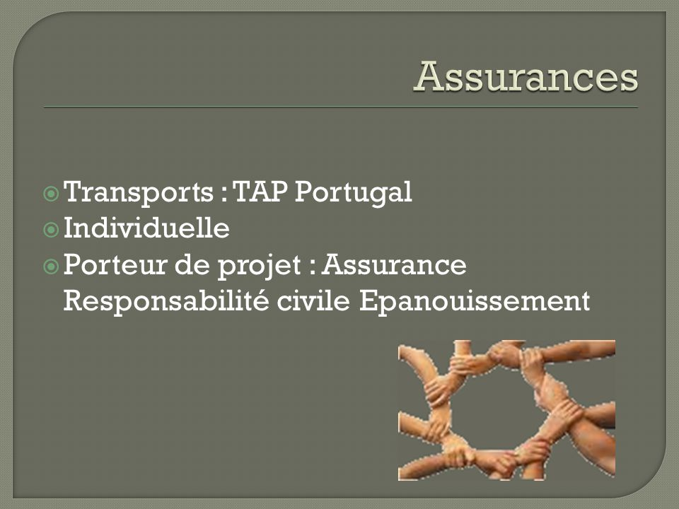  Transports : TAP Portugal  Individuelle  Porteur de projet : Assurance Responsabilité civile Epanouissement