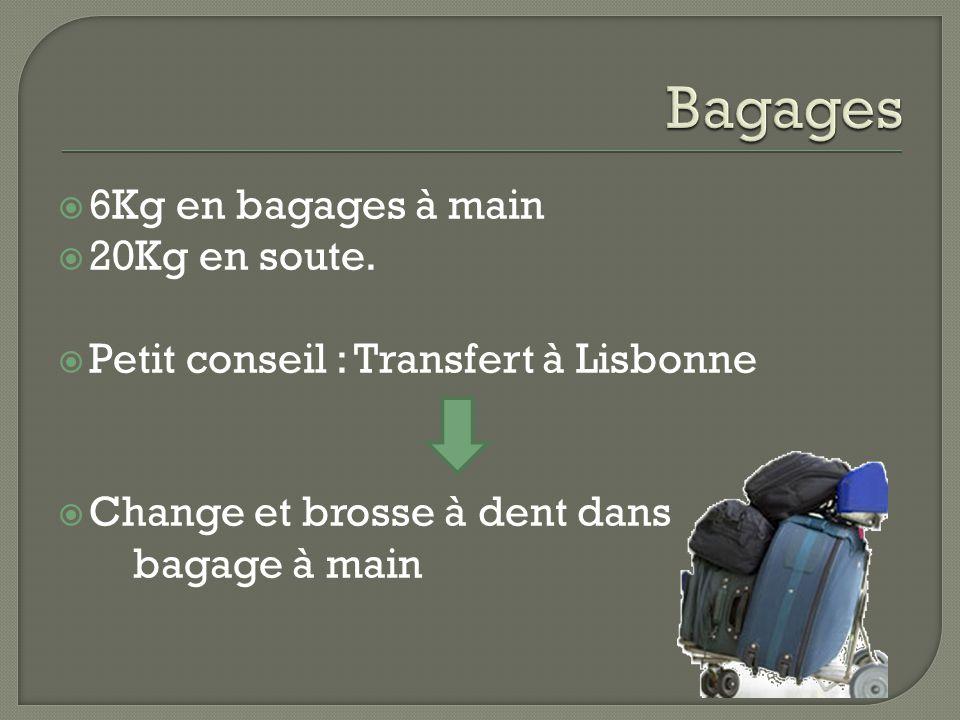  6Kg en bagages à main  20Kg en soute.